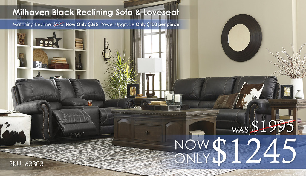 Millhaven Black Reclining Sofa & Love 63303-88-96-T845-PILLOWS