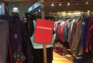 A clearance section at REI
