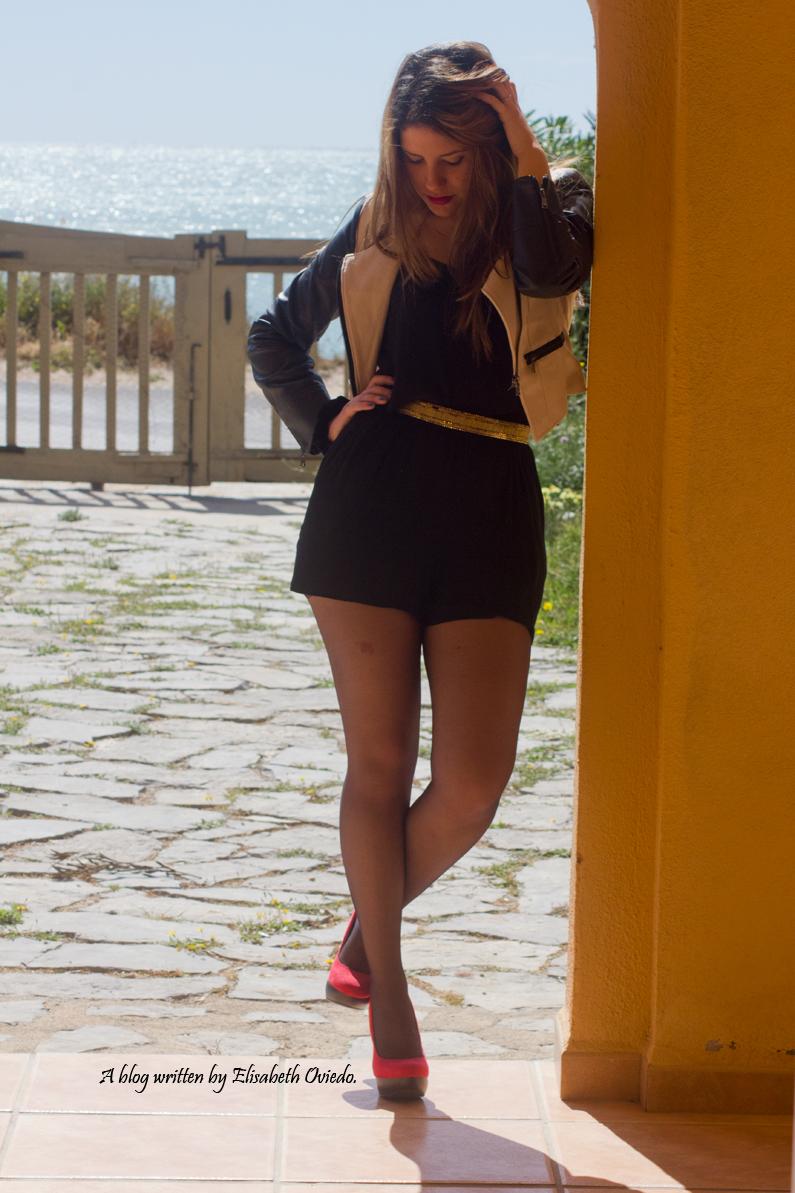 mono negro cinturon dorado chaqueta de cuero heelsandroses moda blogger fashion style look verano primavera sfera el corte ingles (5)
