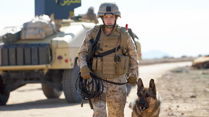 Kate Mara takes her aggressive bomb sniffing dog to task in MEGAN LEAVEY.