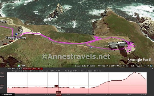 Visual trail map of the path to and around the Yaquina Head Ligthhouse, Oregon