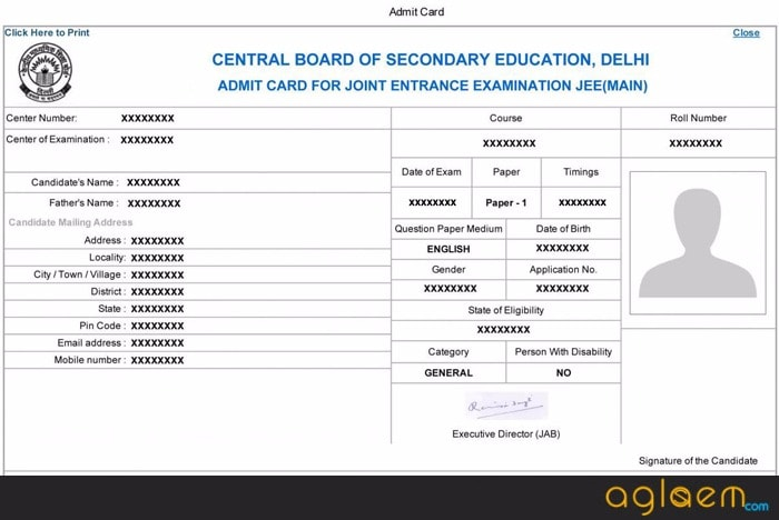Sample of JEE Admit Card