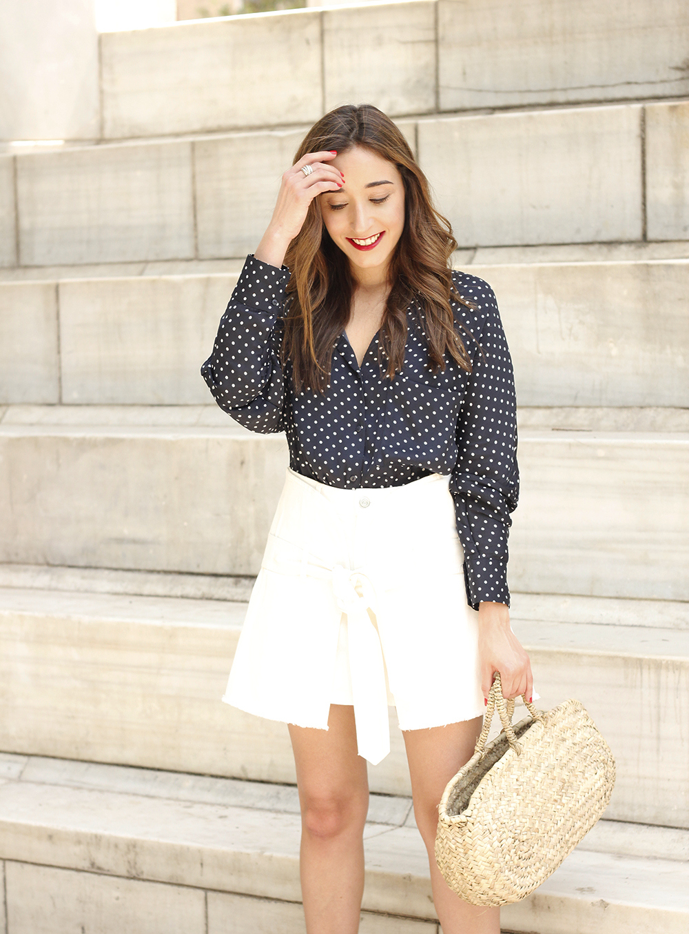 Polka dot shirt white denim skirt jewel flats wricked bag outfit style06