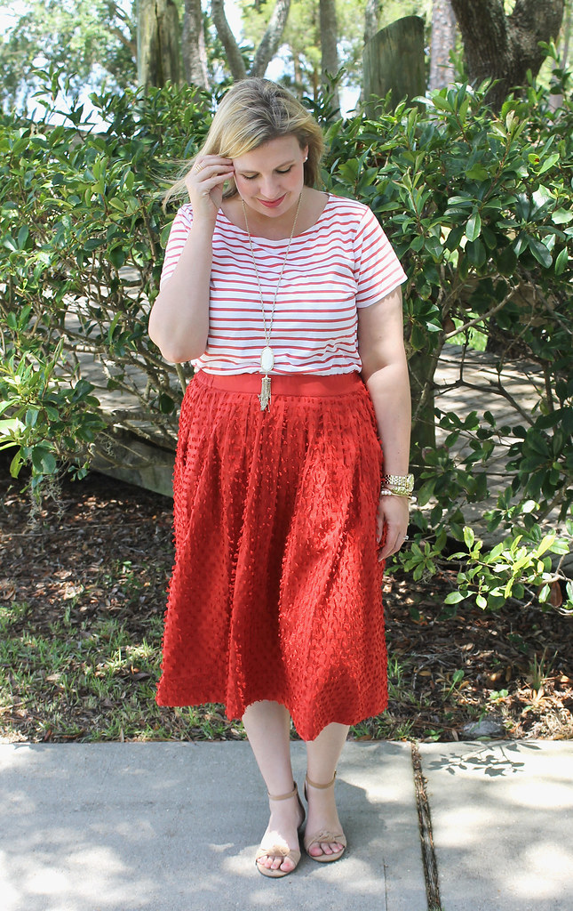 red midi skirt red stripe shirt 3