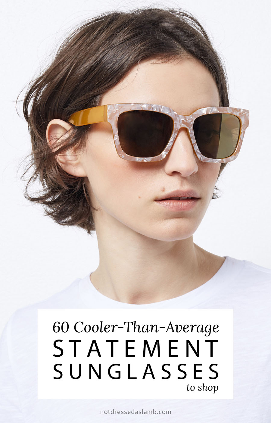 60 Pairs of Cooler-Than-Average Statement Sunglasses to Shop (Warehouse pearl-frame yellow sunglasses)