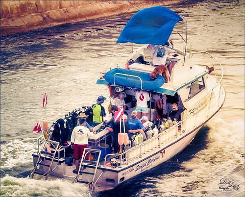 Image of Dive Boat and riders heading to ocean at Boynton Beach, Florida