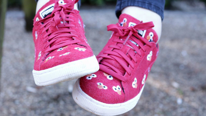 Red elmo trainers
