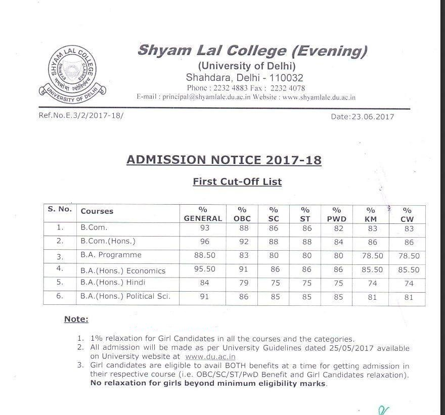 Shyam Lal Evening college first Cut off 2017