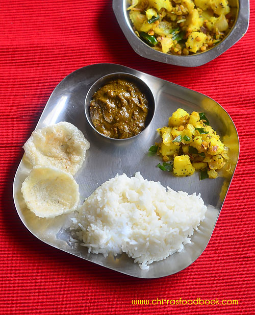 Andhra style raw banana curry