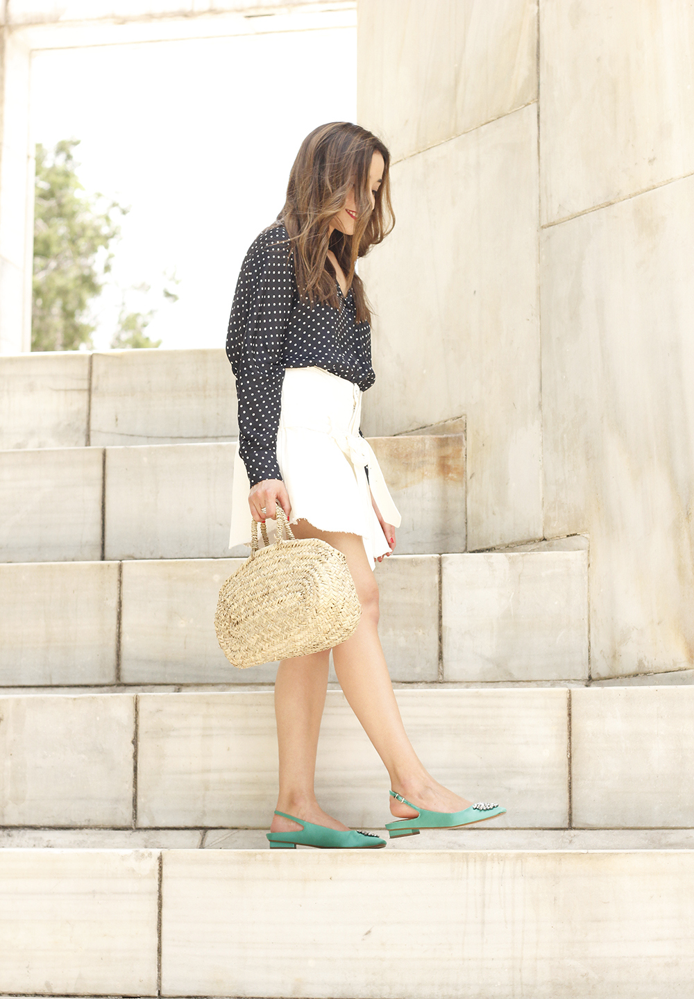 Polka dot shirt white denim skirt jewel flats wricked bag outfit style05