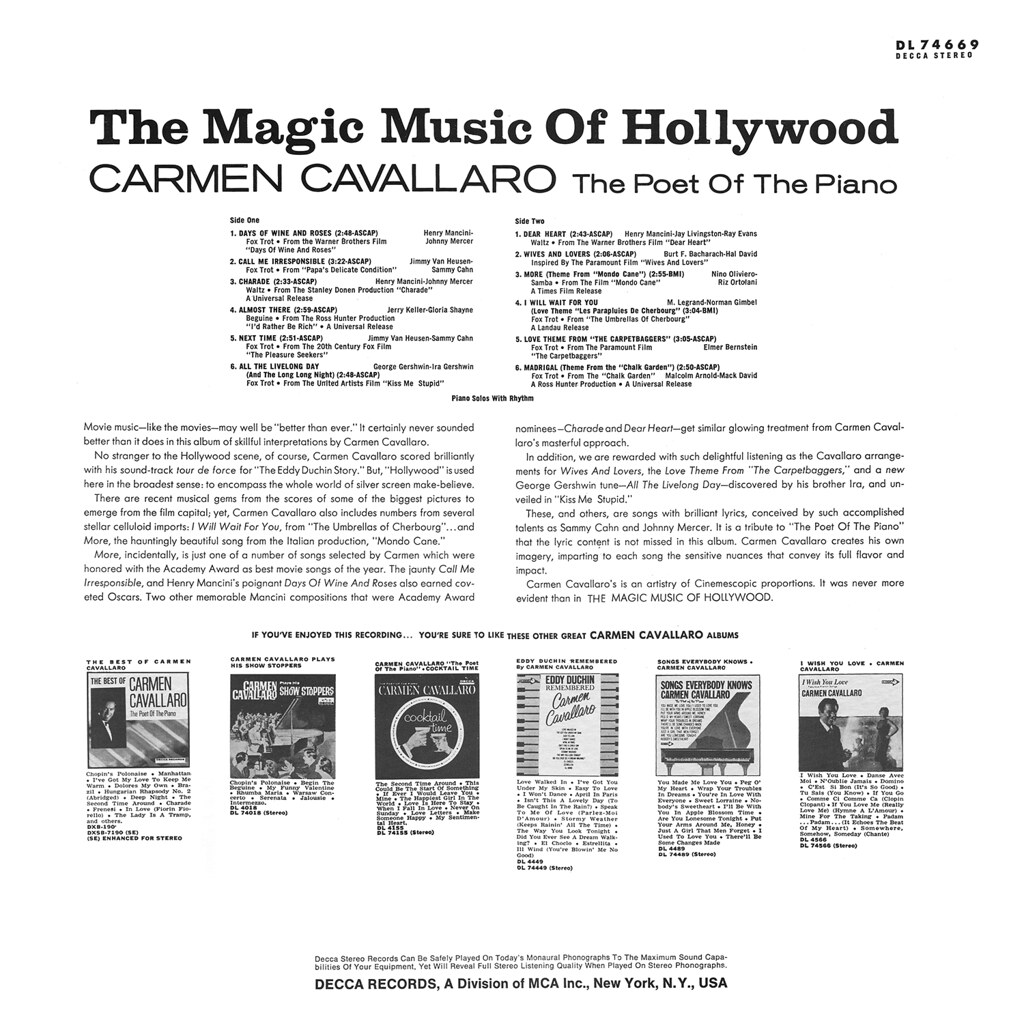 Carmen Cavallaro - The Magic Music of Hollywood b