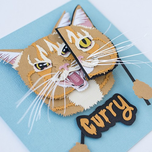 Papercut Customized Pet Portrait by Kathryn Willis - Curry