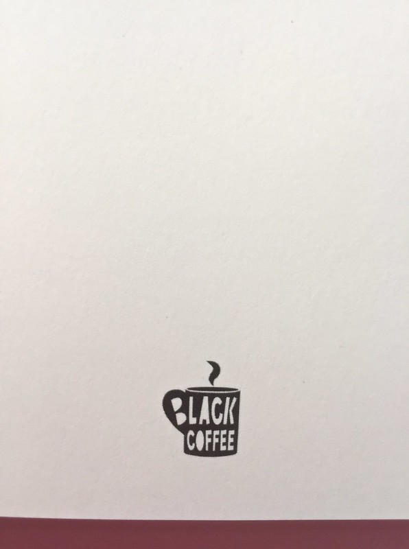 Mary Miller, Happy hour. Black Coffee edizioni, Firenze 2017.  Grafica di Raffaele Anello. Frontespizio, logo della casa editrice, a pag. 3 (part.), 1