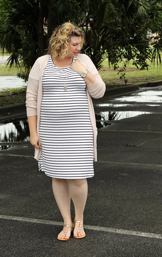 black and white stripe dress, long blush cardigan 4