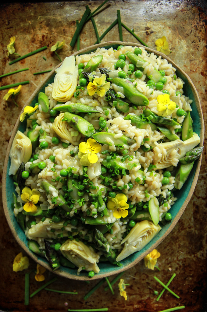 Vegan Asparagus, Artichoke and Pea Risotto from HeatherChristo.com