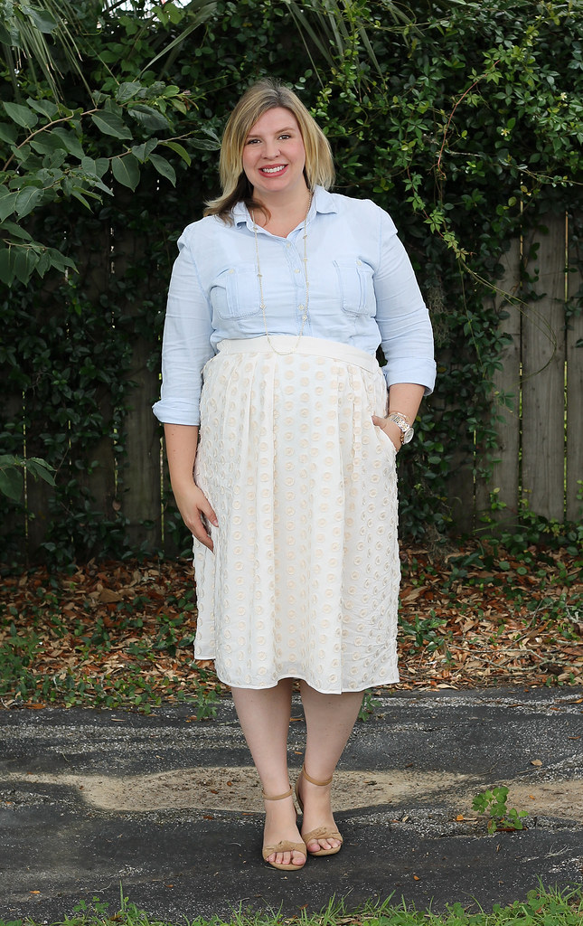 chambray shirt, cream dot midi and wedge sandals 3