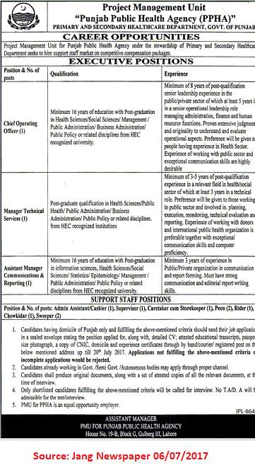 punjab public health agency jobs