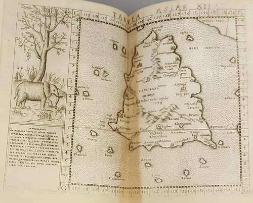 Map showing the island of Taprobana from the 1562 printing of Ptolemy's Geographia.