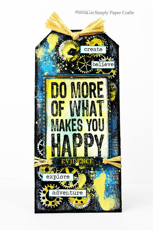 Meihsia Liu Simply Paper Crafts Mixed Media Tag Happy Darkroom Door Simon Says Stamp Monday Challenge