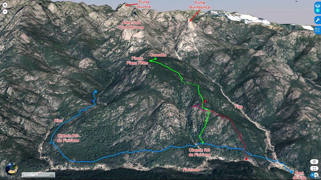 Photo aérienne en 3D du secteur Figa - Pinetu Pianu- Ricu (Géoportail)