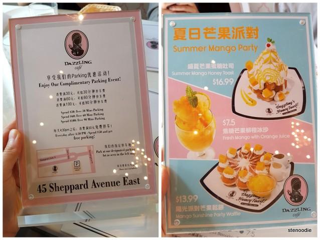 Dazzling Café menus