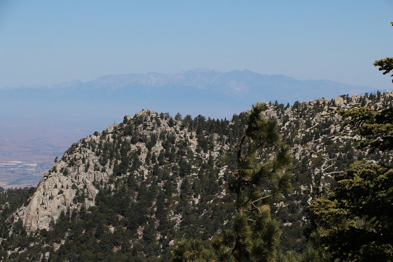 Zoomed in view of hazy Mount Baldy (San Antonio) from the Fuller Ridge Trail