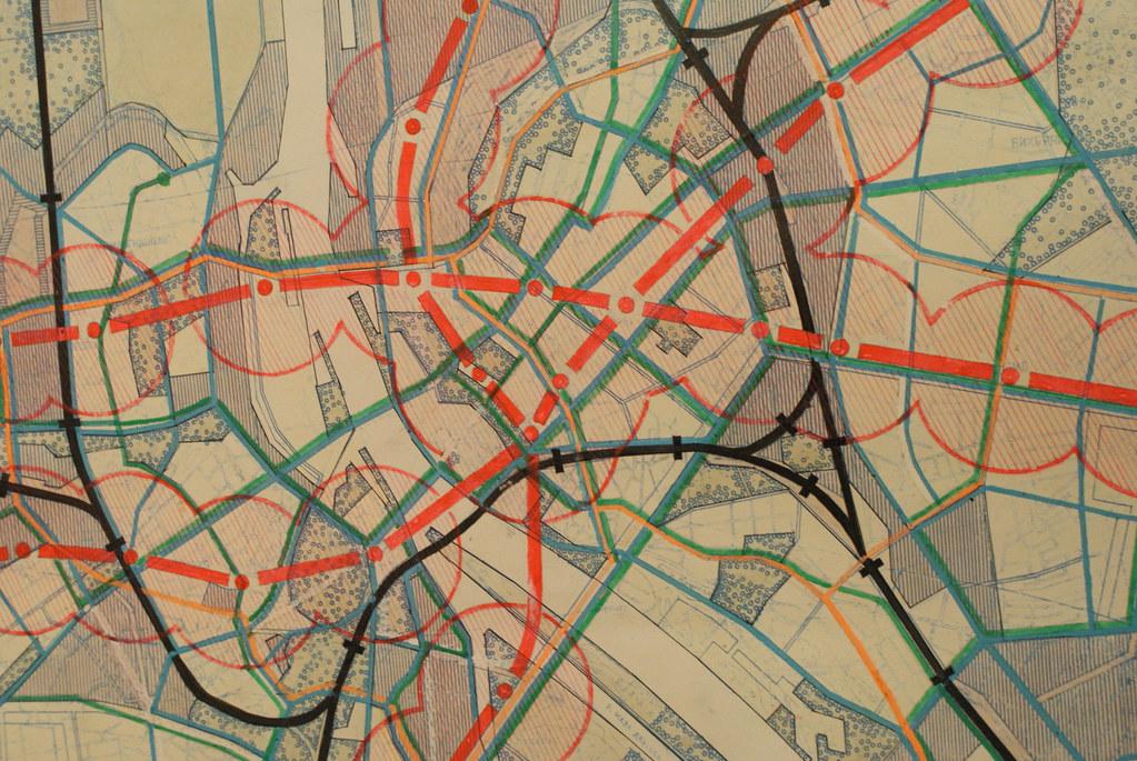 Projet de plan des lignes et stations de métro - Musée d'architecture de Riga en Lettonie.