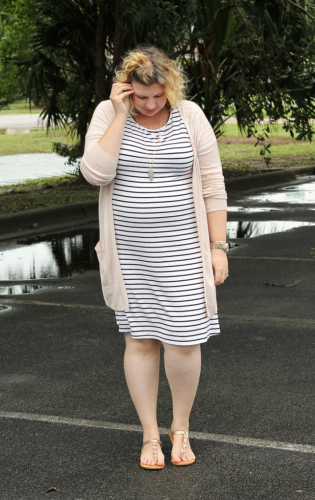 black and white stripe dress, long blush cardigan 6