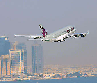 Qatar Airways A380 departing from DOH (Qatar Airways)