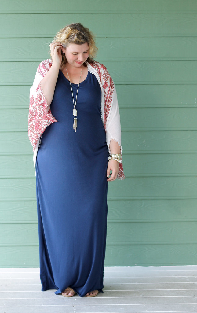 maternity blue maxi dress, white red kimono 4