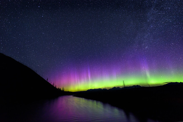 Northern Lights over the North Flathead River, Glacier National Park, Montana