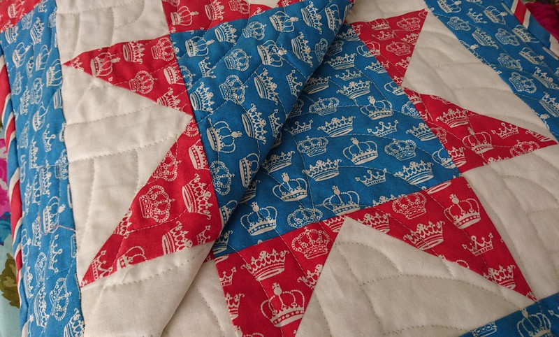 Red white and blue star quilt detail