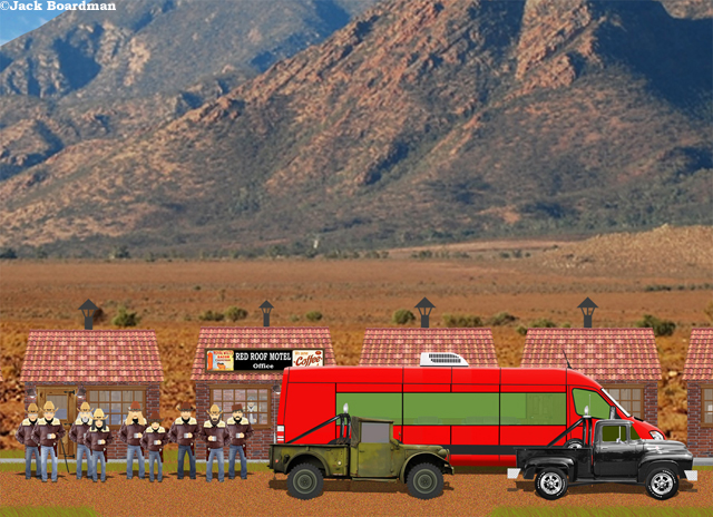 The Adventure Bus stopped at Red Roof Motel ©Jack Boardman