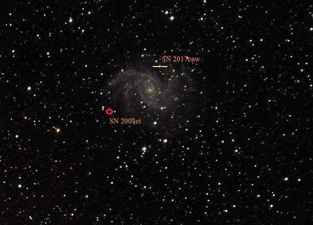 VCSE - az SN 2017eaw a VCSE Távvezérelt Csillagvizsgálójából az NGC 6946-ban, valamint a második szerző által is észlelt SN 2004et helye (csak azokat az SN-eket tüntettük fel, amelyet legalább egyikünk észlelt).