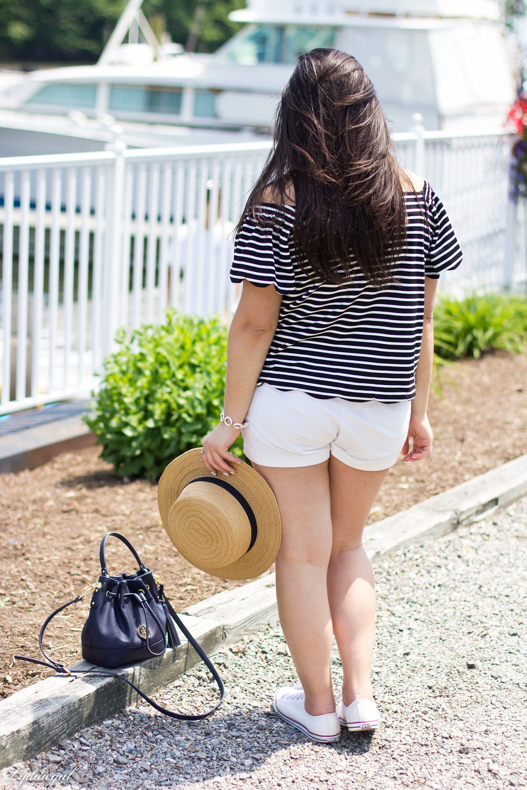 striped off the shoulder top, white shorts, straw hat-11.jpg
