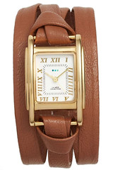Milwood leather strap watch, tan