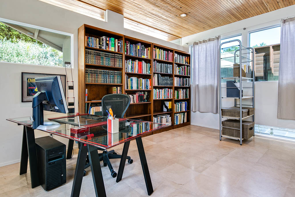 Home Office With Recycled Wood Ceiling View 2