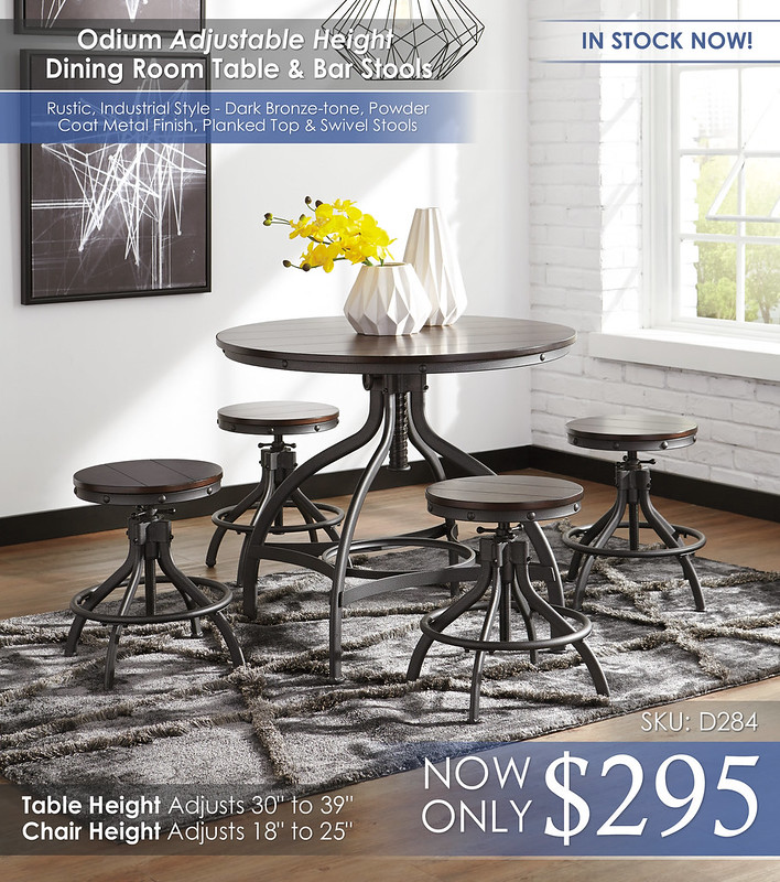 Odium Adjustable Height Dining Room D284-223-R400-LOW