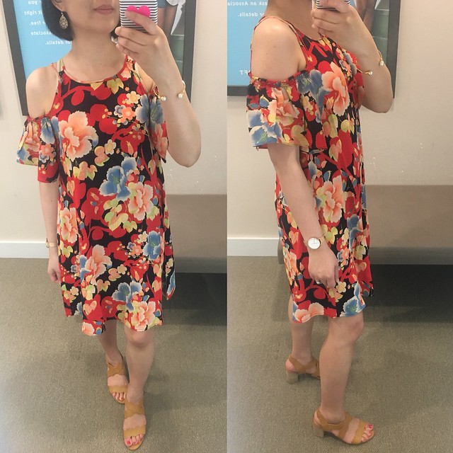 LOFT Tropic Cold Shoulder Swing Dress, size XS regular