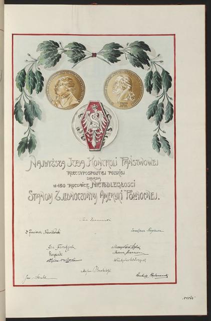 Najwyzsza Izba Kontroli Panstwowej Rzeczypospolitej Polskiej (Supreme State Auditing Chamber of the Republic of Poland). From Unexpected Treasures at America's Library: Heartfelt Friendship Between Nations