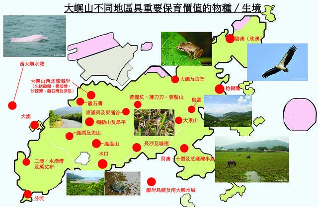 大嶼山不同地區具重要保育價值的物種及生境