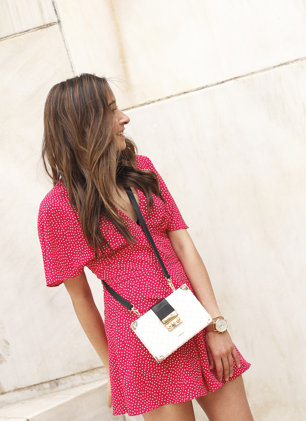 Polka dot jumpsuit uterqüe bag heels summer outfit11