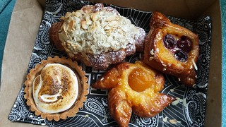 Almond Croissant, Cherry Danish, Apricot Danish, Sweet Potato and Marshmallow Tart from Smith & Deli