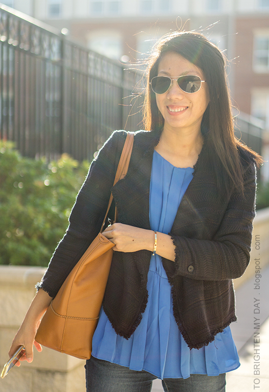 navy tweed jacket, bright blue pleated top, skinny jeans, cognac brown tote