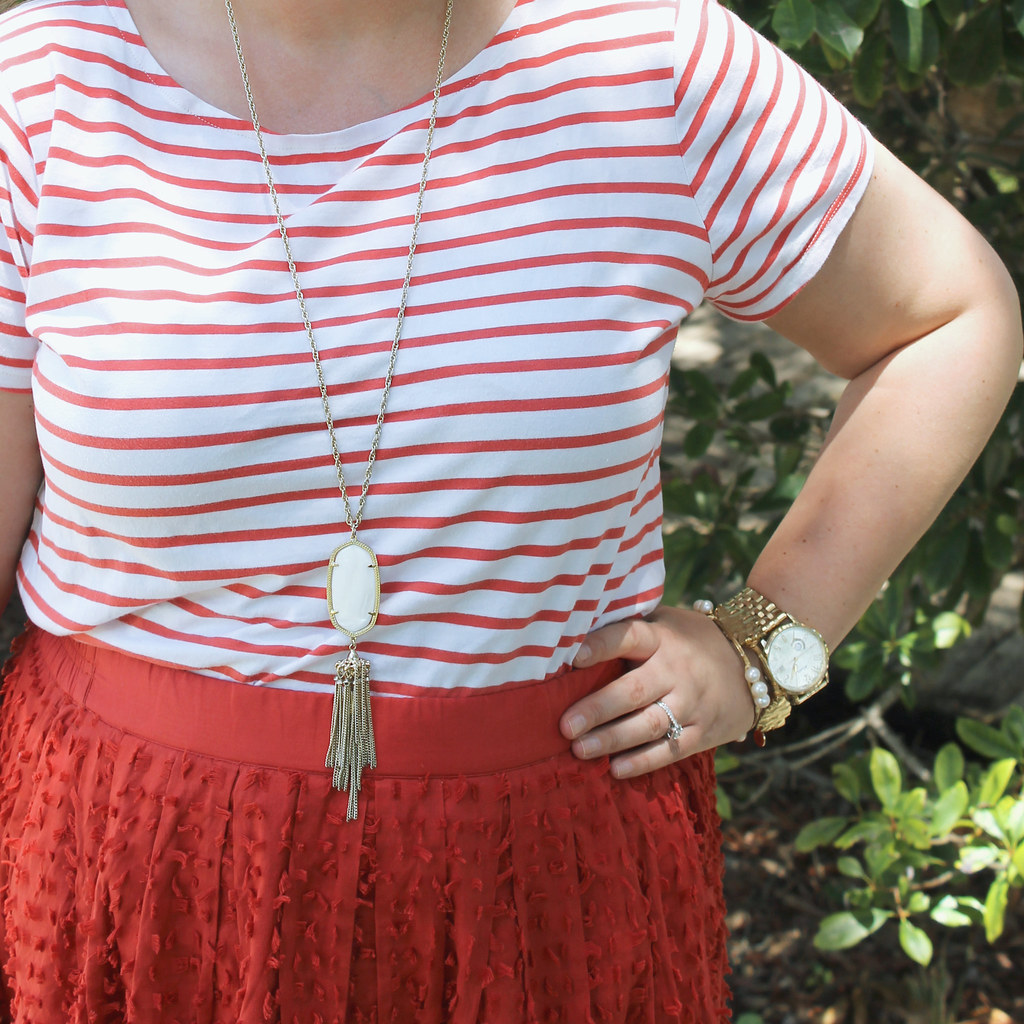 red midi skirt red stripe shirt 7