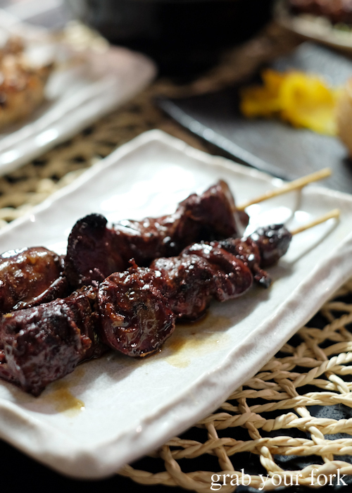 Kimo chicken liver skewers at Yakitori Jin Japanese restaurant in Haberfield Sydney