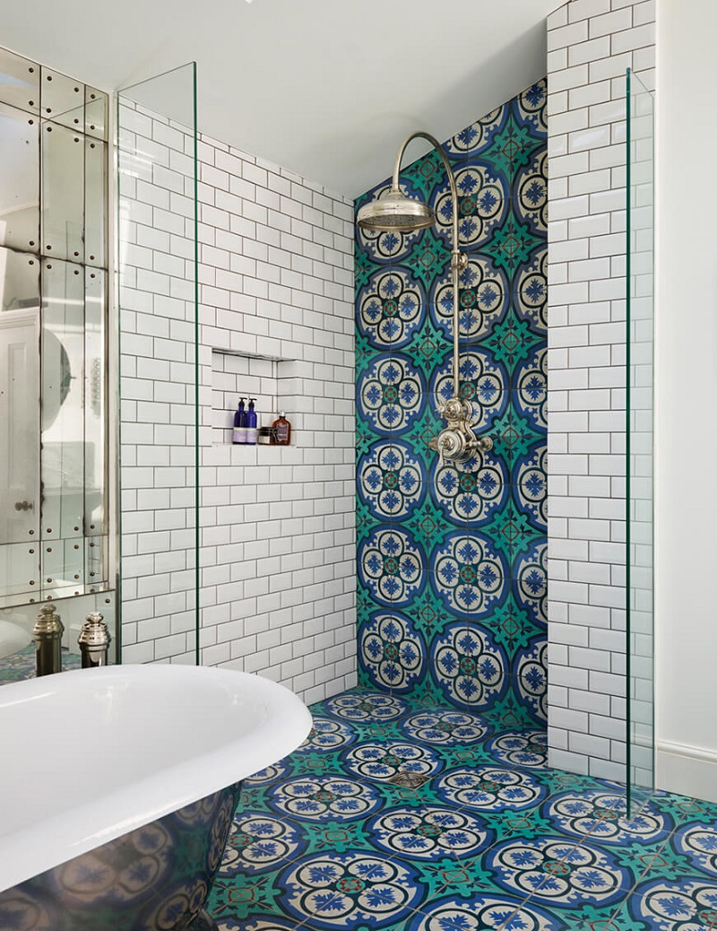 The 15 Best Tiled Bathrooms on Pinterest Teal Moroccan Tile Walk In Shower Bathroom White Subway Tile