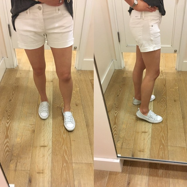 LOFT Denim Flip Cuff Shorts in White, size 24/00 regular