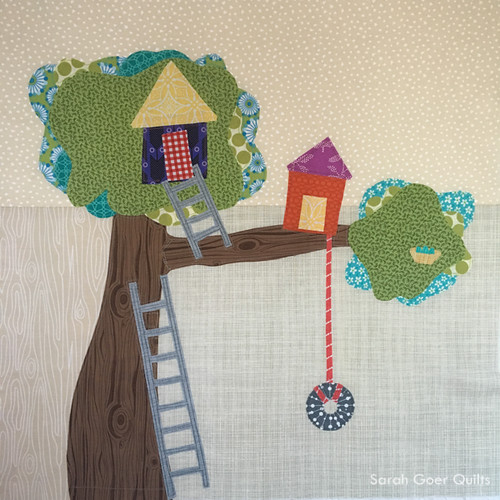 Kids Quilt Round Robin KQRR treehouse block