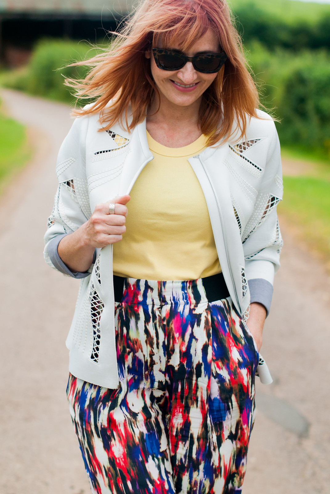 Easy, comfy summer style: Cutout scuba fabric jacket \ multi coloured patterned peg trousers \ black wedge espadrilles | Not Dressed As Lamb, over 40 style